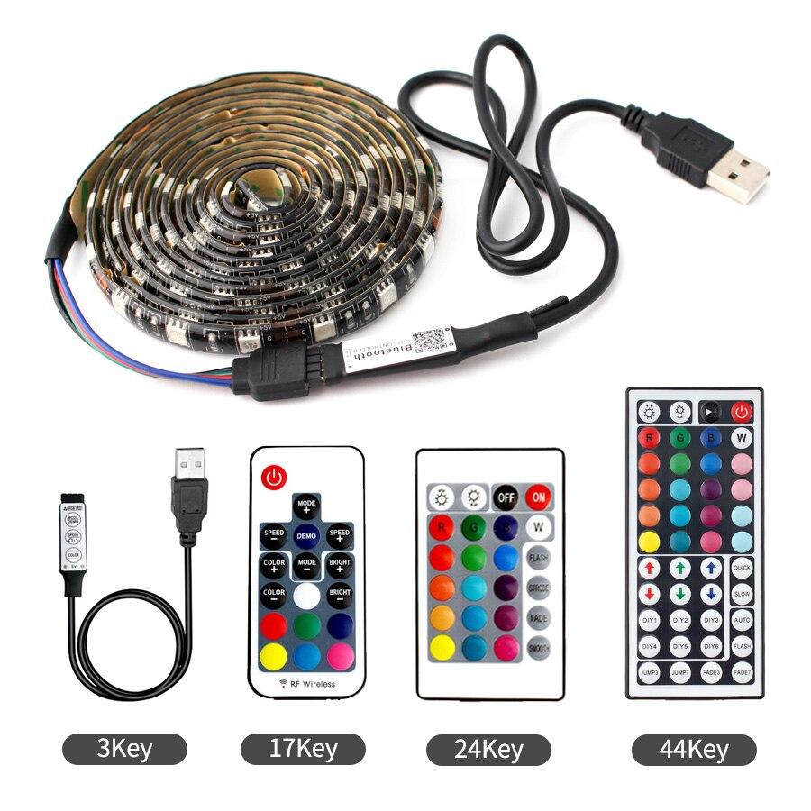 DC USB 5 V Volt LED Strip Light RGB Lamp 5050 60leds/M TV Backlight USB 5V Neon LED Strip RGB Tape Flexible Ribbon TV Backlight
