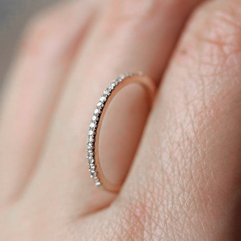 Micro Pave Cubic Zirconia Wedding Engagement Rings Silver Color Fashion Crystal Slim Ring Minimalist Jewelry For Women DFR133 1