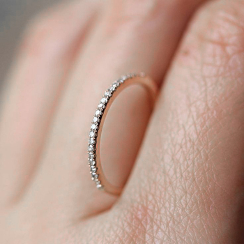 Микро проложить кубического циркония свадебные/обручальные кольца Белый/розовое золото цвет модный бренд кристалл кольцо ювелирные изделия для женщин DFR133