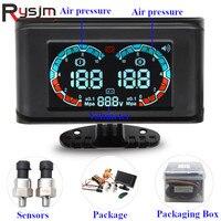 12V 24V Digital LCD Car Double Air Pressure Gauge Voltmeter Voltage gauges With NPT 1/8 Sensor for Car Truck Motorcycle