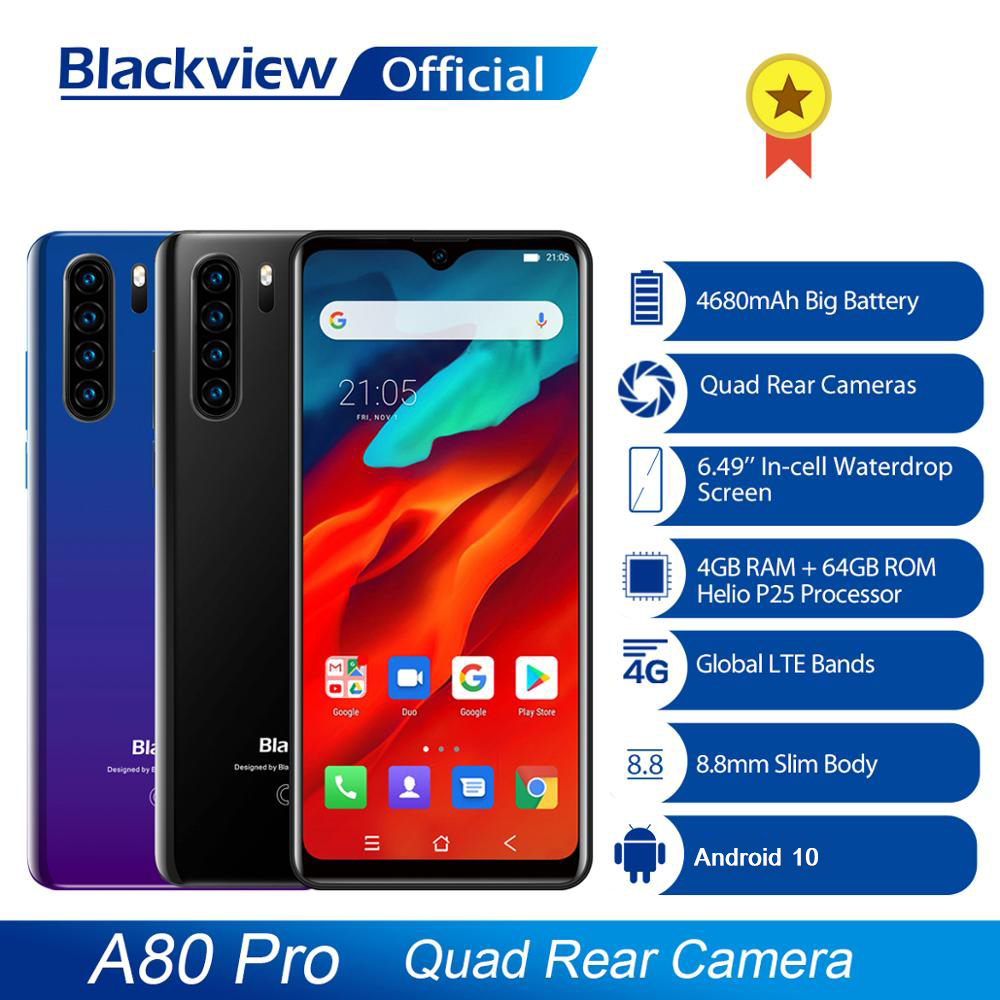 Global Version Blackview A80 Pro Quad Rear Camera Octa Core 4GB+64GB Android 10 Mobile Phone Waterdrop 4680mAh 4G Smartphone