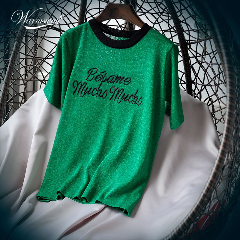 Korean Cute Letter Tee shirt femme Hipster Harajuku Lurex Womens Clothing Kawaii Ladies short sleeve T Shirt Women Tops B-052 1