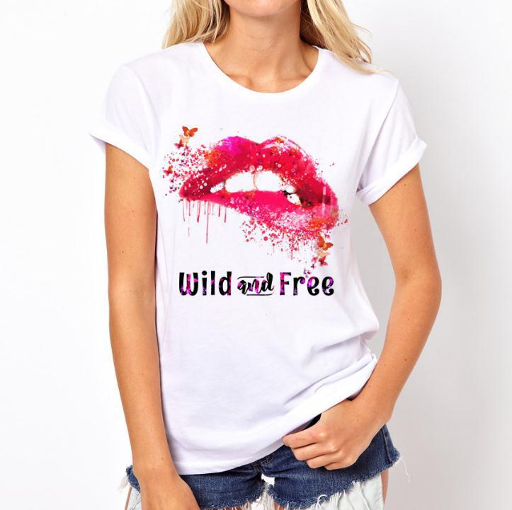 <font><b>Sexy</b></font> Red Lip <font><b>3D</b></font> Print <font><b>T</b></font> <font><b>Shirt</b></font> Women Short Sleeve O Neck Loose Tshirt 2019 Summer Fashion Women Tee <font><b>Shirt</b></font> Tops image