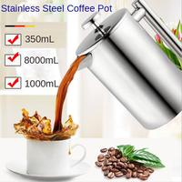 Coffee Maker Pot Large Capacity Double Wall 304 Stainless Steel Water Kettle Milk Tea Brewer with 3 Layer Filter 350/800/1000ml
