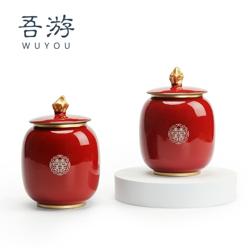 Wedding and Wedding Celebration Supplies Red Sucrier Jujube Jar Tea Jar Sealed Jar Ceramic Household Chinese Gift