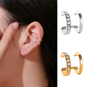 Double Layered Clip on Earrings Korean Gold Silver Color Crystal Clip Earrings Without Piercing For Women Ear Cuffs Jewelry