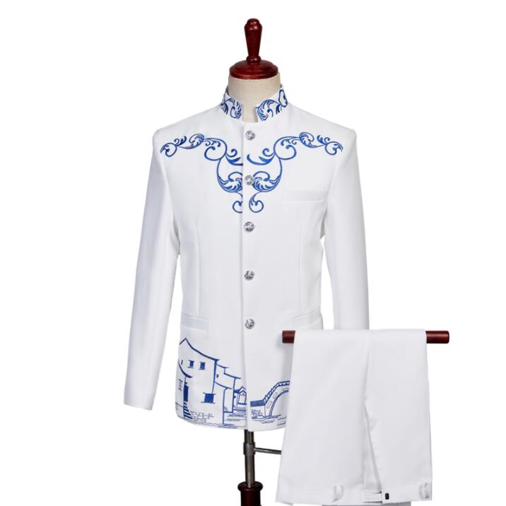 White Blazer Men Chinese Tunic Suit Set With Pants Mens Wedding Suits Costume Singer Star Style Stage Clothing Formal Dress