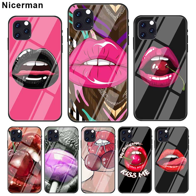 <font><b>Sexy</b></font> Cherry red lips <font><b>Cases</b></font> For <font><b>iPhone</b></font> 11 Pro X XS XR Max <font><b>7</b></font> 8 6 6S <font><b>Plus</b></font> Tempered Glass Black Cover Phone Coque Shell image