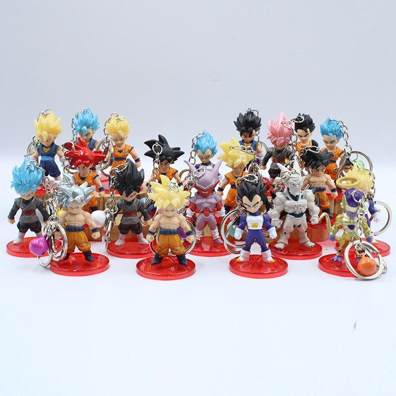 21 Dragon Ball Garage Kit Pendant Keychain Sun Wukong Vegeta Frisha Doll Toy Car Pendant Keychain Wholesale
