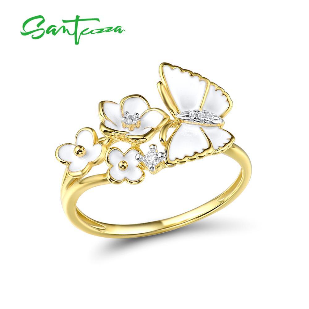 SANTUZZA Silver Rings For Women Genuine 925 Sterling Silver Delicate White Flower Butterfly Trendy Fine Jewelry Handmade Enamel