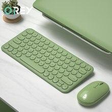 Беспроводная бесшумная мини игровая клавиатура, мышь, комплект с круглой кнопкой, волшебная клавиатура, мышь для iPad, iPhone, телефона, HP, ноутбу...