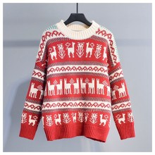 Mooirue Autumn Winter Women Sweater Christmas Pullover Long Sleeve Round Neck Vintage Streetwear Casual Knitting Print Tops
