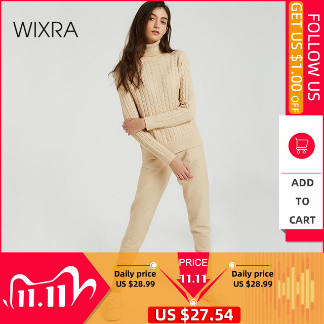 Wixra Conjuntos de Jersey de punto para mujer, suéteres de manga larga con cuello de tortuga, Tops y pantalones largos con bolsillos, trajes sólidos de 2 piezas, disfraz de invierno