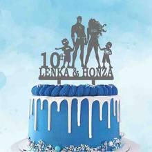 10th personalizado 20th casamento aniversário bolo topper casal personalizado nome super herói família super homem morcego mulher super meninos