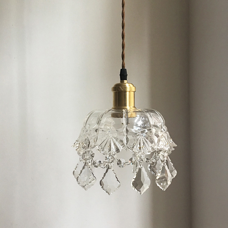 Nordic brass glass carved vintage small Pendant lights living room decoration lamp creative dining room bedroom bedside lamp