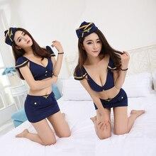 Sexy Lingerie Airline Stewardess Women Flight Attendant Uniform Cosplay Hot Erotic  Costumes