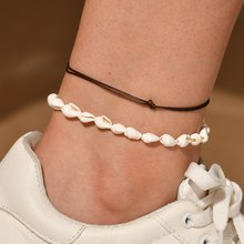 Hello Miss Fashion retro leather rope woven anklet conch handmade beaded beach wind womens jewelry gift