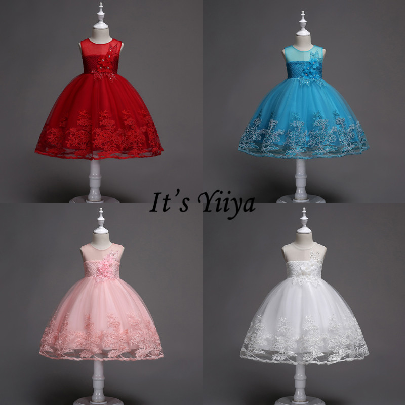 It's YiiYa Flower Girl Dresses Elegant Bow Lace Short Kid Party Gowns Blue Pink Burgundy Wedding Communion Dress For Girls 1026