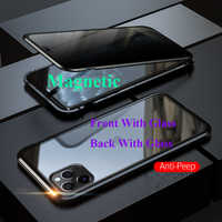 Nuovo Metallo Magnetico Cassa Del Telefono In Vetro Temperato Privacy per iphone 11 Pro Max Magnete Della Copertura di Protezione Per iphone 11 2019 caso