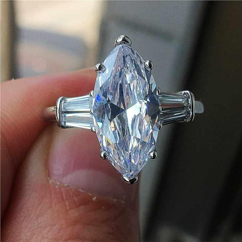 Choucong luxo statement anel de promessa vários corte sona cz 925 prata esterlina noivado anéis de banda de casamento para jóias femininas