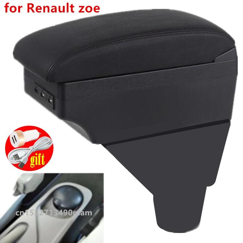 Подлокотник для Renault zoe, кожаный подлокотник, usb-контейнер для хранения, аксессуары, центральная консоль, автомобильное украшение, Стайлинг а...