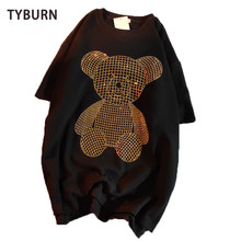 2021 Diamond Beading Bear Women T-shirt Harajuku Oversize Short-Sleeved HIp HopTee Women Cotton Loose Crystal Korean Female Tops