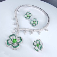 NEW FASHION luxury romantic green flower necklace earring ring set wedding bride banquet formal dress jewelry set free shipping