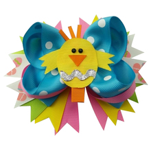 5 inch Stylish Handmade Easter Day Bunny Chicken Cute animal Eggs Boutique Stacked Hair Bows Clip for Carnival