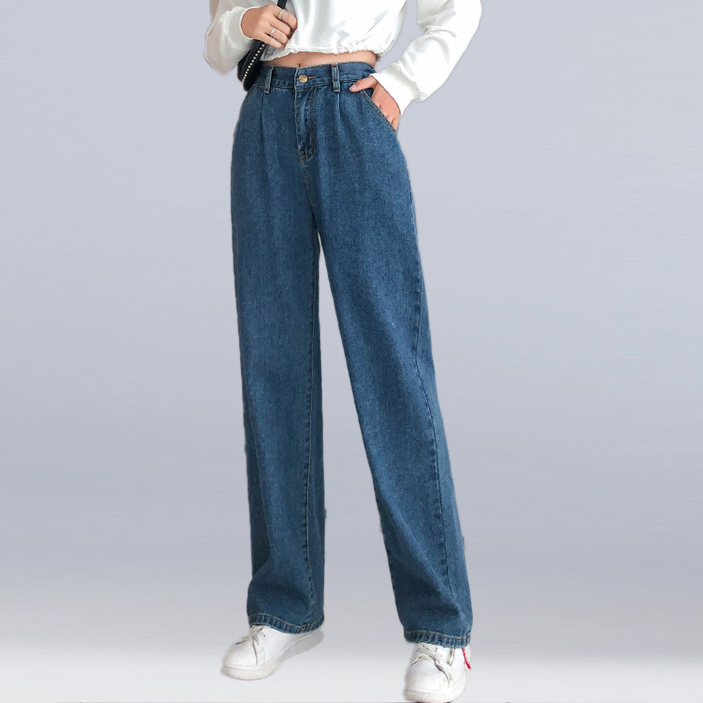 Женские джинсы, брюки, весна лето 2020, новинка, большие размеры, высокая талия, свободные прямые брюки, повседневные джинсы с эластичной резинкой на талии|Джинсы|   | АлиЭкспресс