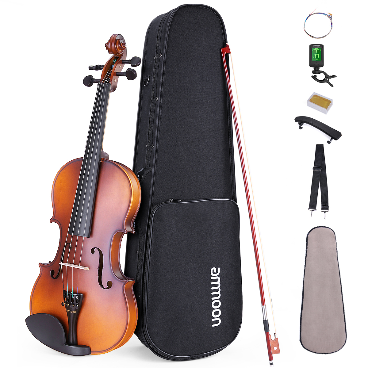 ammoon Acoustic Violin 1/4 1/2 3/4 4/4 for Students Maple Backboard Sideboard Mahogany Bow with Carry Case Tuner Strings Rosin