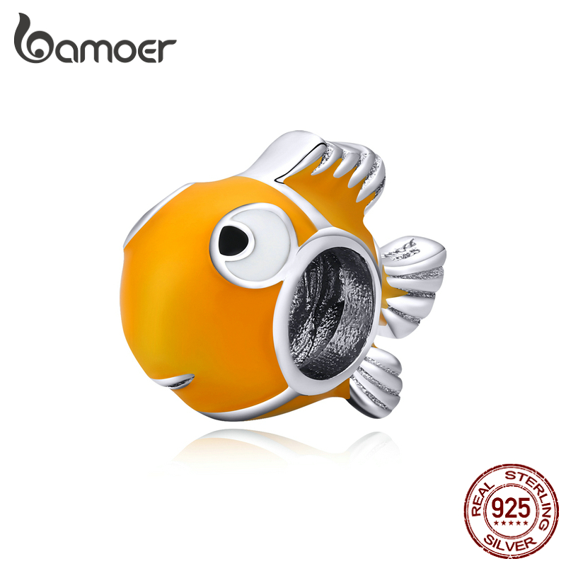 Bamoer Genuine 925 Sterling Silver Yellow Enamel Clownfish Metal Charm For Original Silver Bracelet Bangle DIY Jewelry BSC206