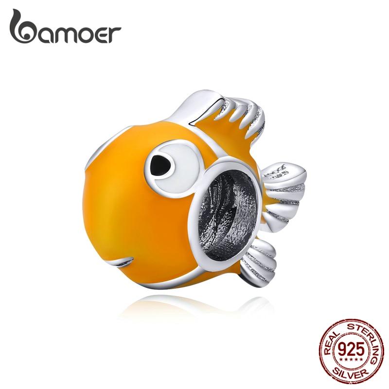 Bamoer Genuine 925 Sterling Silver Yellow Enamel Clownfish Metal Charm For Original Silver Bracelet Bangle DIY Jewelry BSC206
