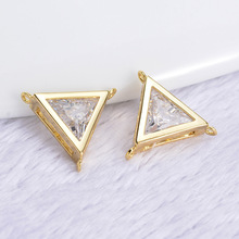 (348)6PCS 13MM 24K Gold Color Plated Brass with Zircon Triangle 3 Holes Connector Charm High Quality DIY Jewelry Making Findings