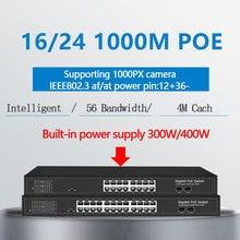 16 منافذ PoE إيثرنت جيجابت التبديل مع 2 جيجابت SFP 24 PoE 2 SFP منافذ Gigbit PoE 48V القياسية poE مفتاح شبكة إيثرنت