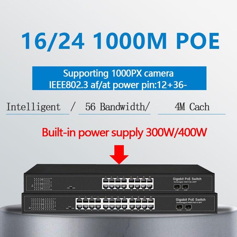 16 Ports PoE Ethernet gigabit Switch With 2 Gigabit SFP 24 Gigbit 48V Standard Network