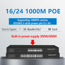 16 porte PoE gigabit Ethernet Switch Con 2 Gigabit SFP 24 PoE 2 Porte SFP Gigbit PoE 48V Standard poE Ethernet Switch di Rete