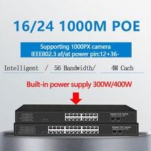 16 puertos Ethernet gigabit PoE Switch con 2 Gigabit SFP 24 PoE 2 puertos SFP Gigbit PoE 48V estándar interruptor de red Ethernet PoE