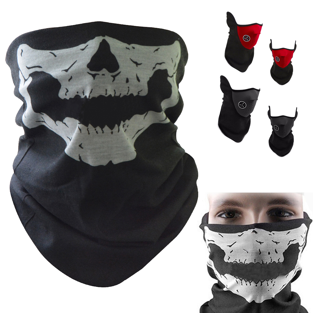 For Suzuki Gn250 Bandit 400 M109r Drz 400 Gsx BMW Motorcycle Skull Ghost Mask Face Shield Windproof Outdoor Mask Scarf Unisex