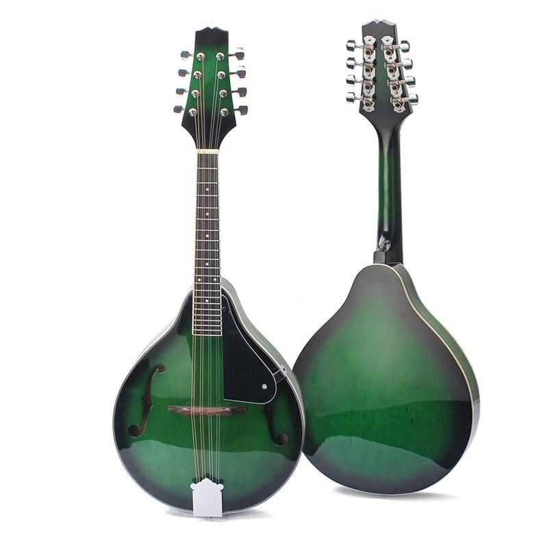 8-String Basswood Mandolin Musical Instrument With Rosewood Steel String Mandolin Stringed Instrument Adjustable Bridge Green Co