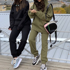 Simplee Fashion Hooded Sweatshirt set Long sleeve thick sport suit Loose casual suit Autumn winter women's two piece set 2020