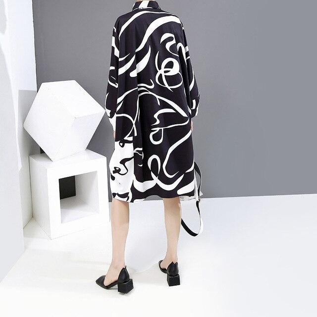 Фото женское платье рубашка большого размера с рисунком черного цвета цена