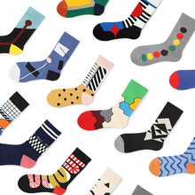 Autumn and Winter New Korean Version of Color Matching Personality Style Fashion Socks College Students Tube Cotton