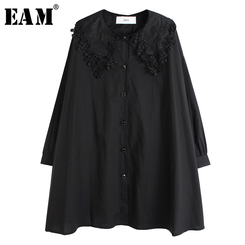 [EAM] Women Black Ruffles Pleated Big Size Blouse New Lapel Long Sleeve Loose Fit Shirt Fashion Tide Spring Autumn 2020 1S128