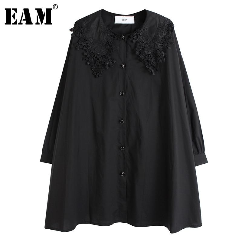 [EAM] Women Black Ruffles Pleated Big Size Blouse New Lapel Long Sleeve Loose Fit Shirt Fashion Tide Spring Autumn 2020 1S128
