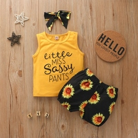 Fashion Summer Newborn Infant Baby Girls Clothing Sleeveless Letter Vest Tops+Printed Sunflower Shorts+Headband Clothes Outfits