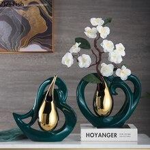 Creative Heart Shaped Ceramic Vases Golden Drop Shaped Flower Arrangement Hollow Porcelain Vase Flower Insert Modern Home Decor