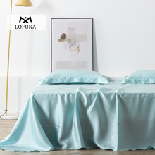 Lofuka Women Light Blue100% Silk Flat Sheet Nature Silk Beauty Queen King Bed Sheet Fitted Sheet Pillowcase For Deep Sleep lofuka women light purple 100% silk flat sheet nature silk beauty queen king bed sheet fitted sheet pillowcase for deep sleep