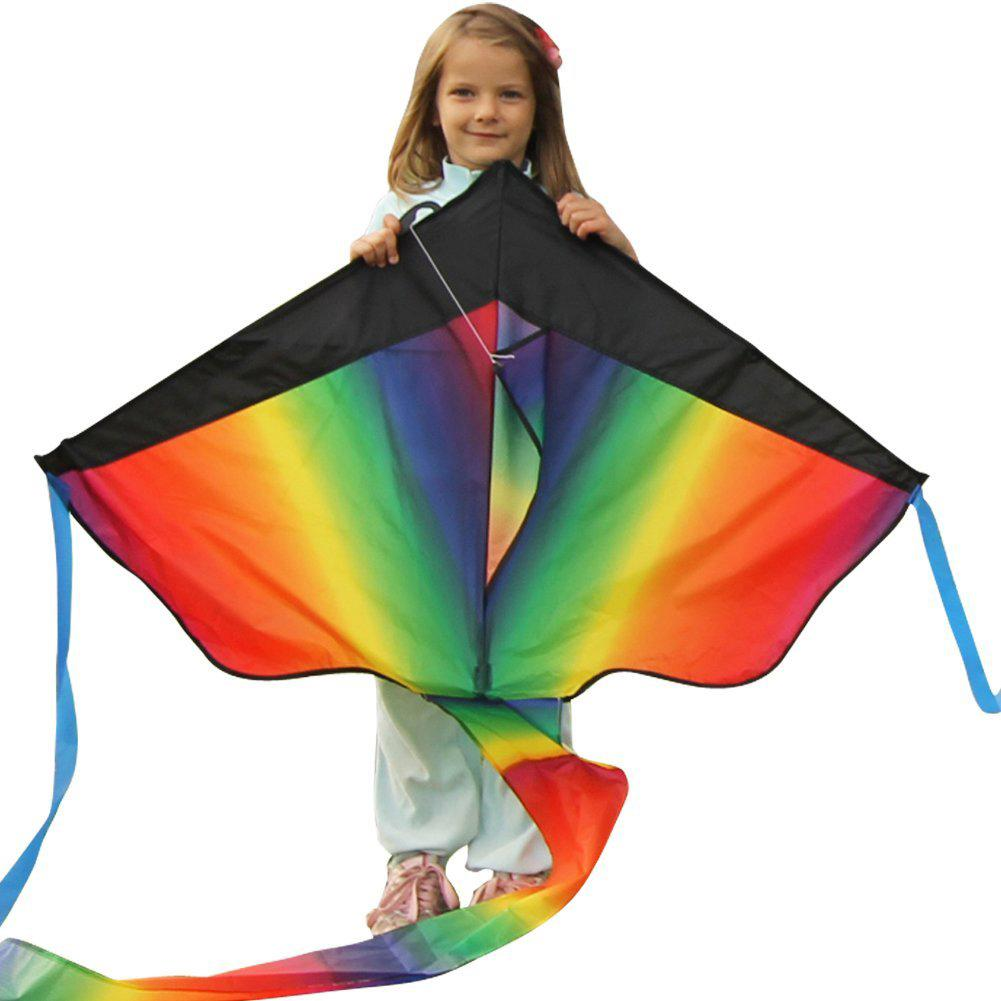 Rainbow Single Line Fly-Hi Delta Kite With 100m Stred Board Kids Outdoor Toy For Children Kid Stunt Kite Polyester Fiber Plastic