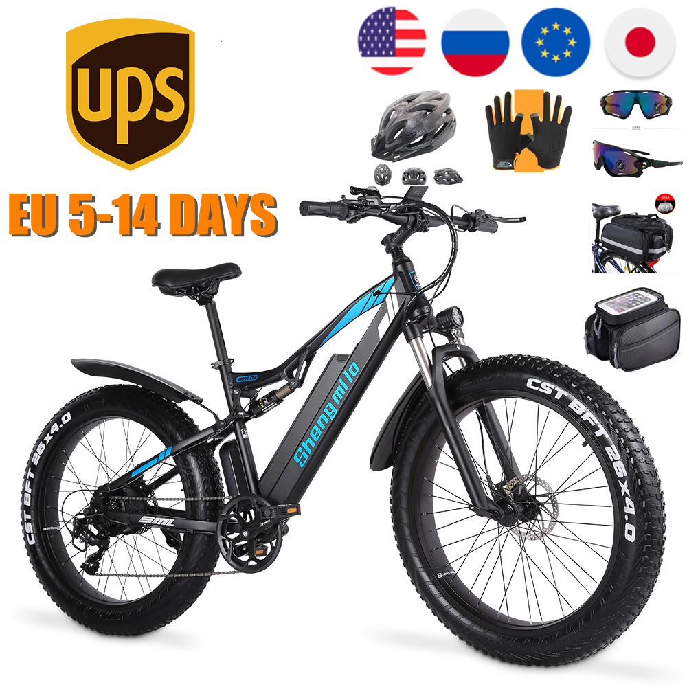 Электрический велосипед 1000W амортизационная вилка для велосипеда 48V 17Ah увеличить 26 дюймов жира шин Shengmilo электрический велосипед, фара для э...