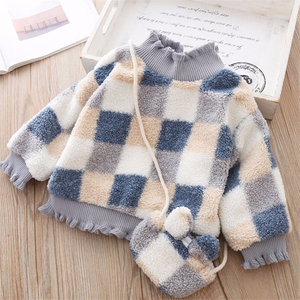 Image 2 - High Quality 1 5Y Girls Sweater for Children Clothes Winter Baby Kids Plaid Sweaters Plus Velvet Princess Pullover send Bag
